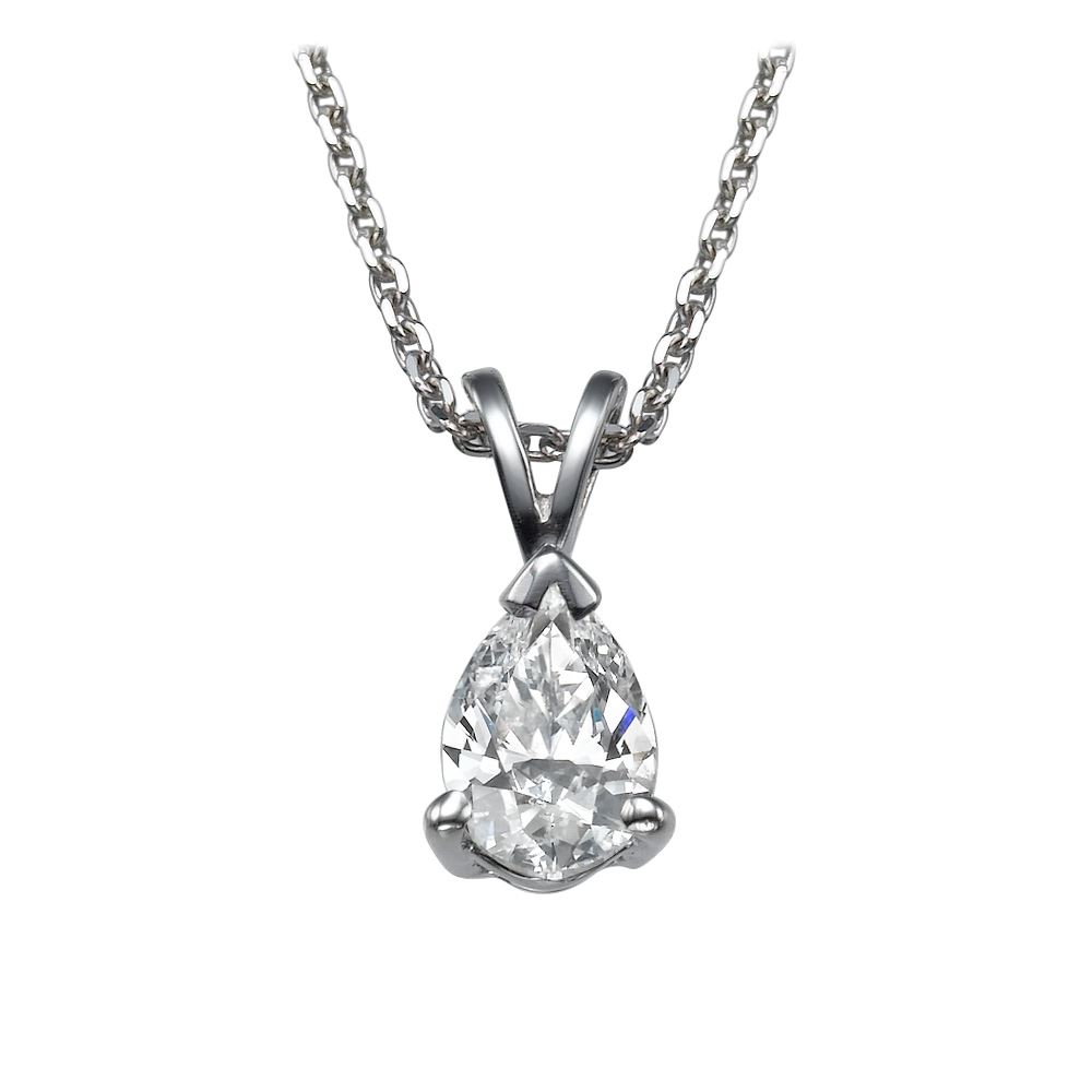 white pendant shaped pear gold solitaire diamond pendants