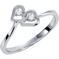 Picture of 0.02 Total Carat Heart Wedding Round Diamond Ring