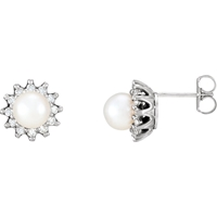Picture of 0.33 Total Carat Halo Round Diamond Earrings