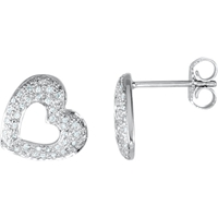 Picture of 0.25 Total Carat Heart Round Diamond Earrings