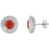 Picture of 0.50 Total Carat Halo Round Diamond Earrings