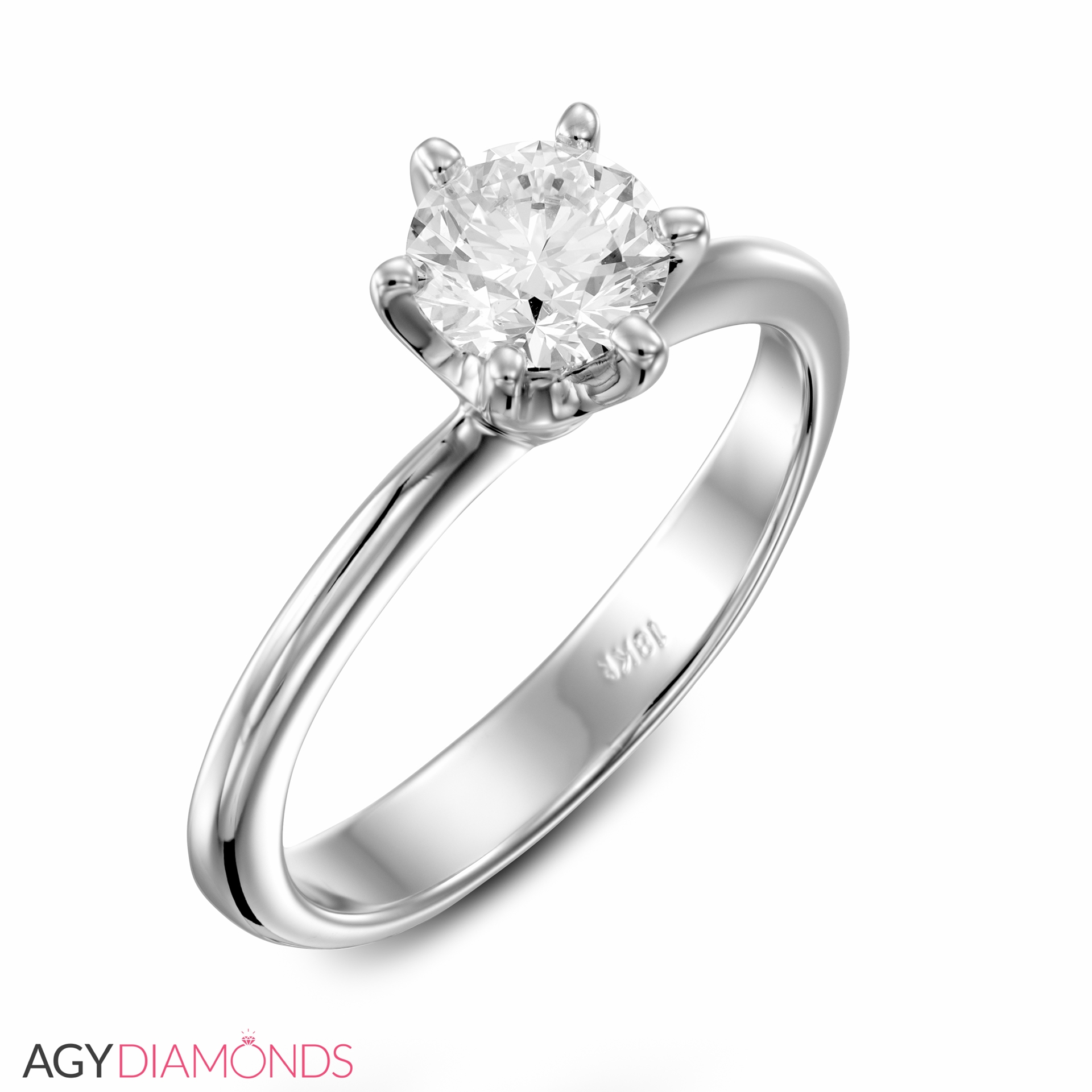 Picture Of 090 Total Carat Solitaire Engagement Round Diamond Ring