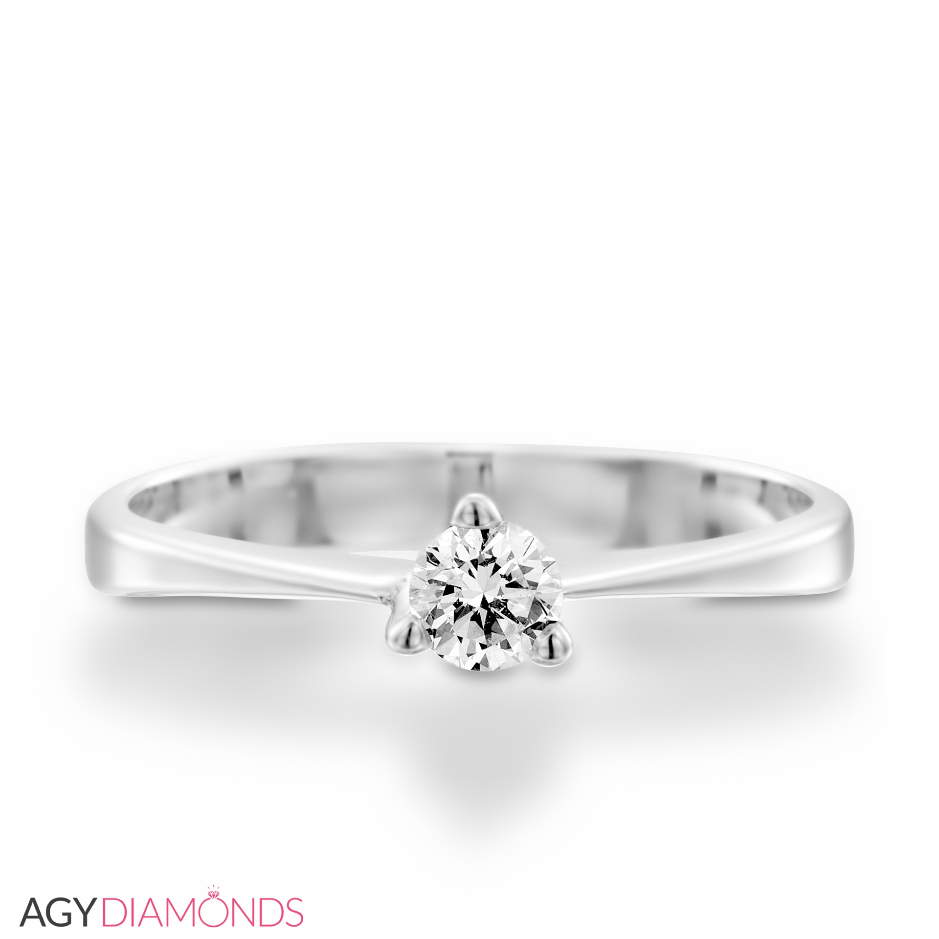 Picture Of 018 Total Carat Solitaire Engagement Round Diamond Ring