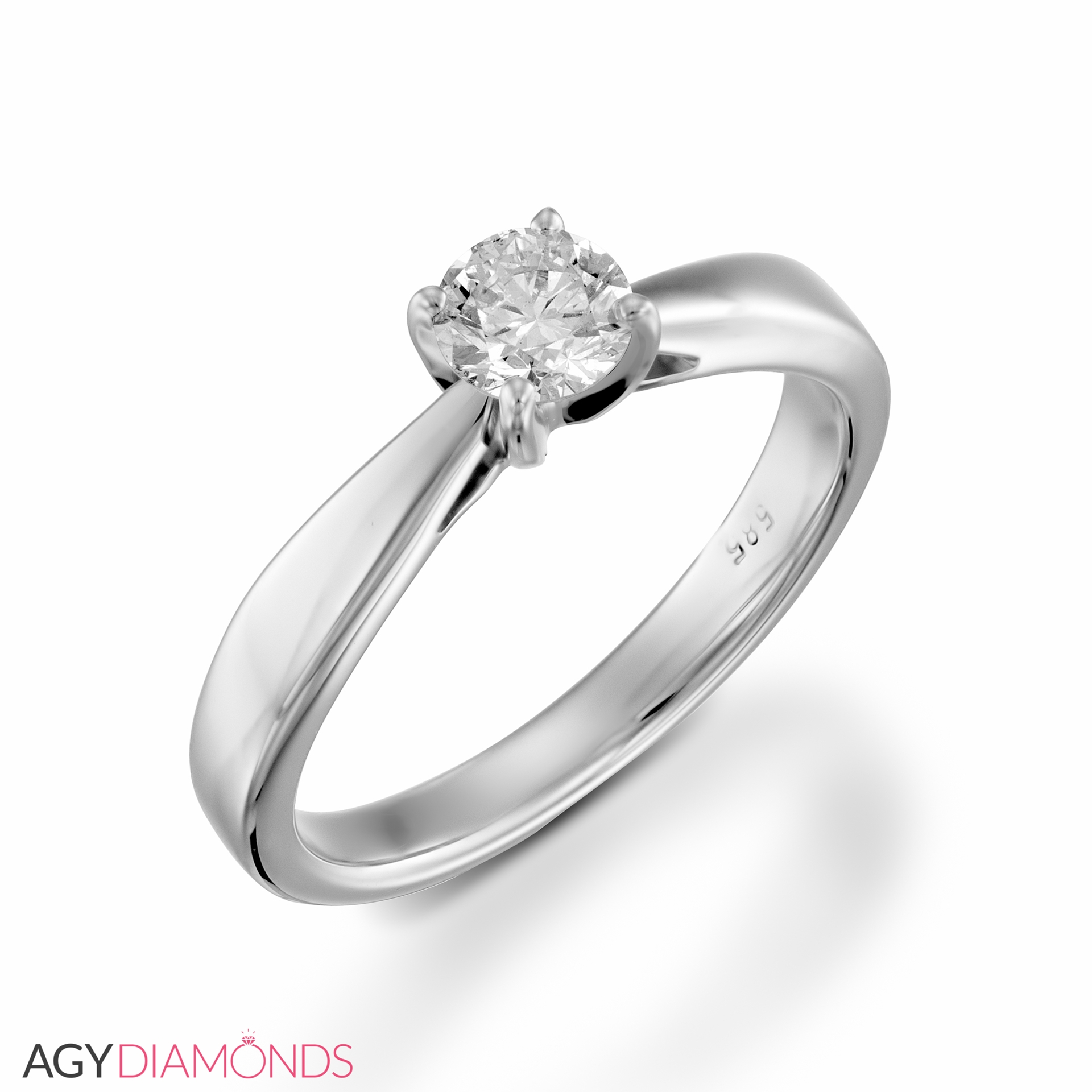 Picture Of 030 Total Carat Solitaire Engagement Round Diamond Ring