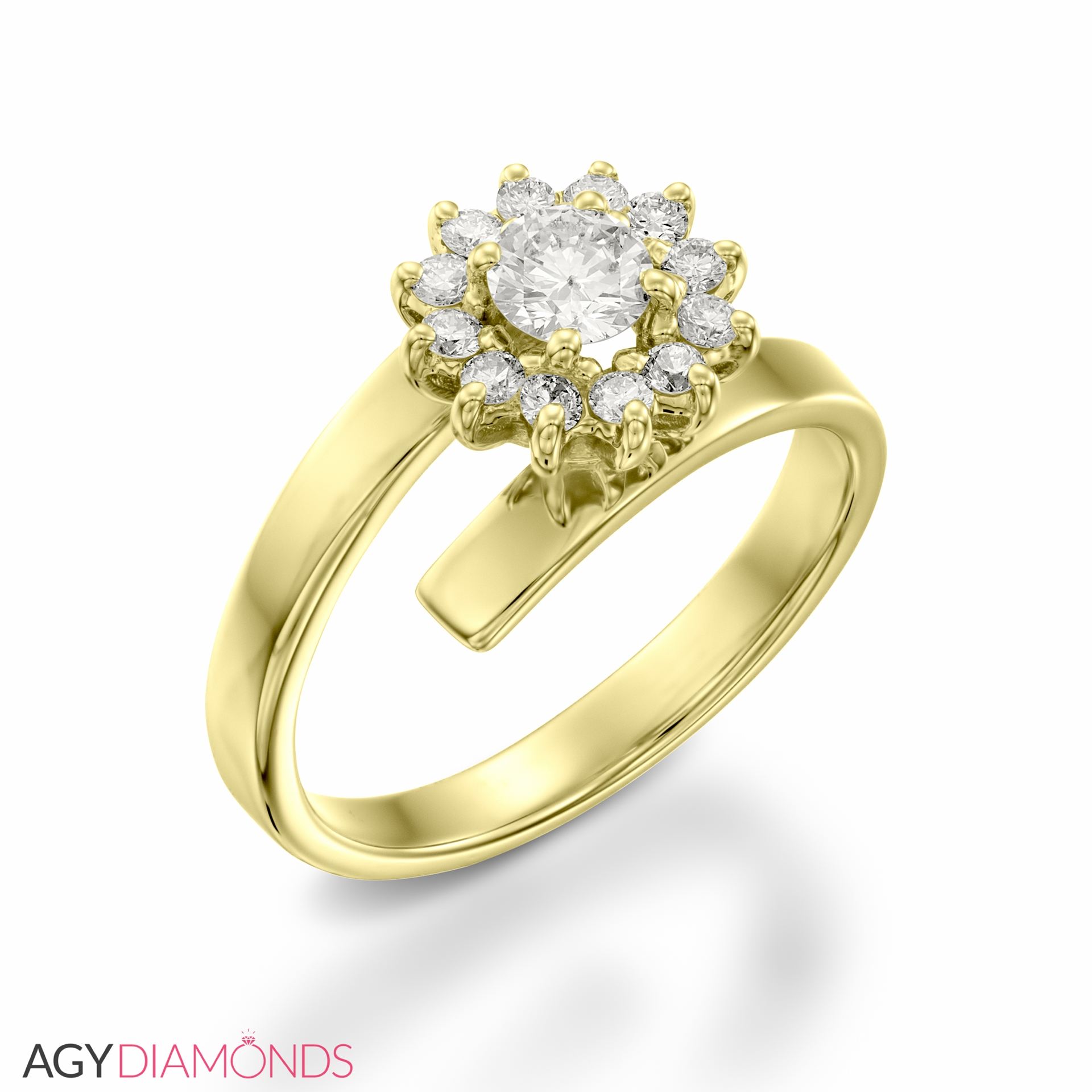 Picture Of 059 Total Carat Floral Engagement Round Diamond Ring