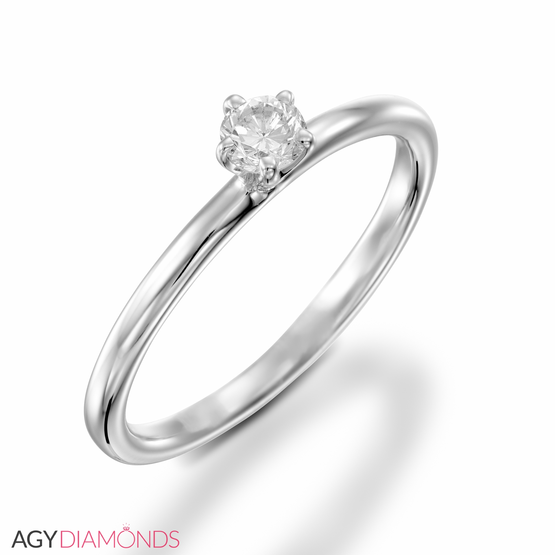 0 15 Total Carat Solitaire Engagement Round Diamond Ring Agy Diamonds