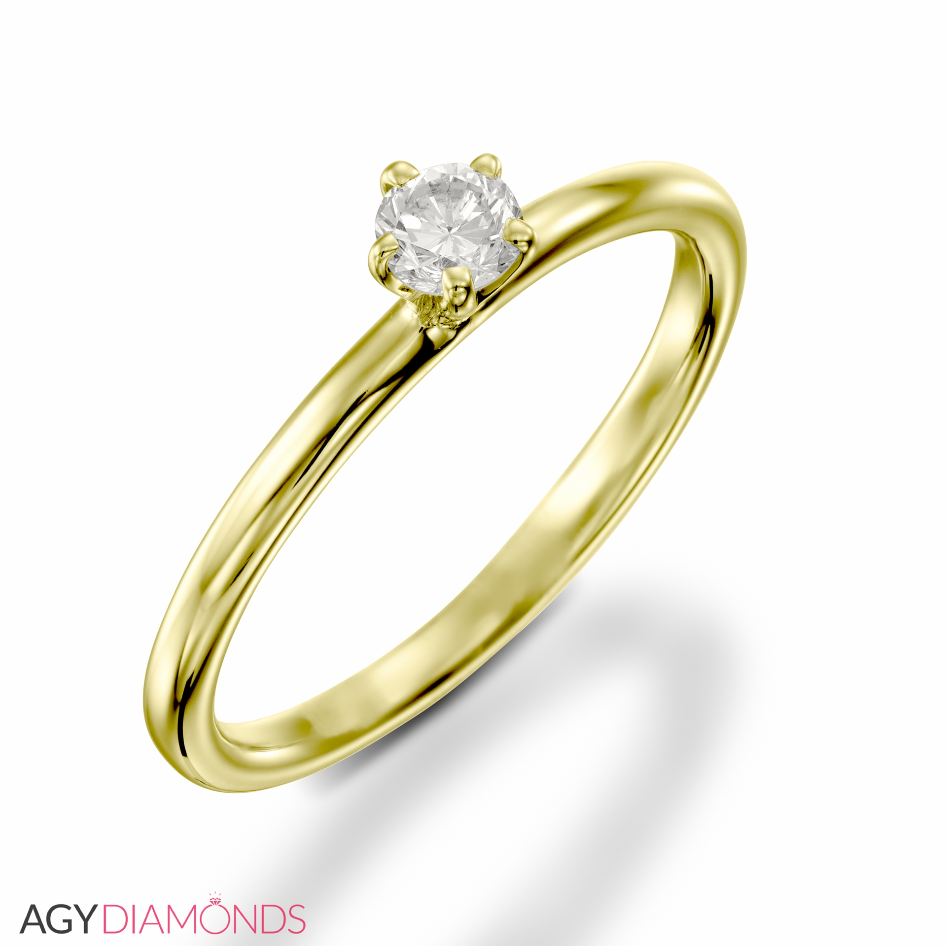 0.15 Total Carat Solitaire Engagement Round Diamond Ring