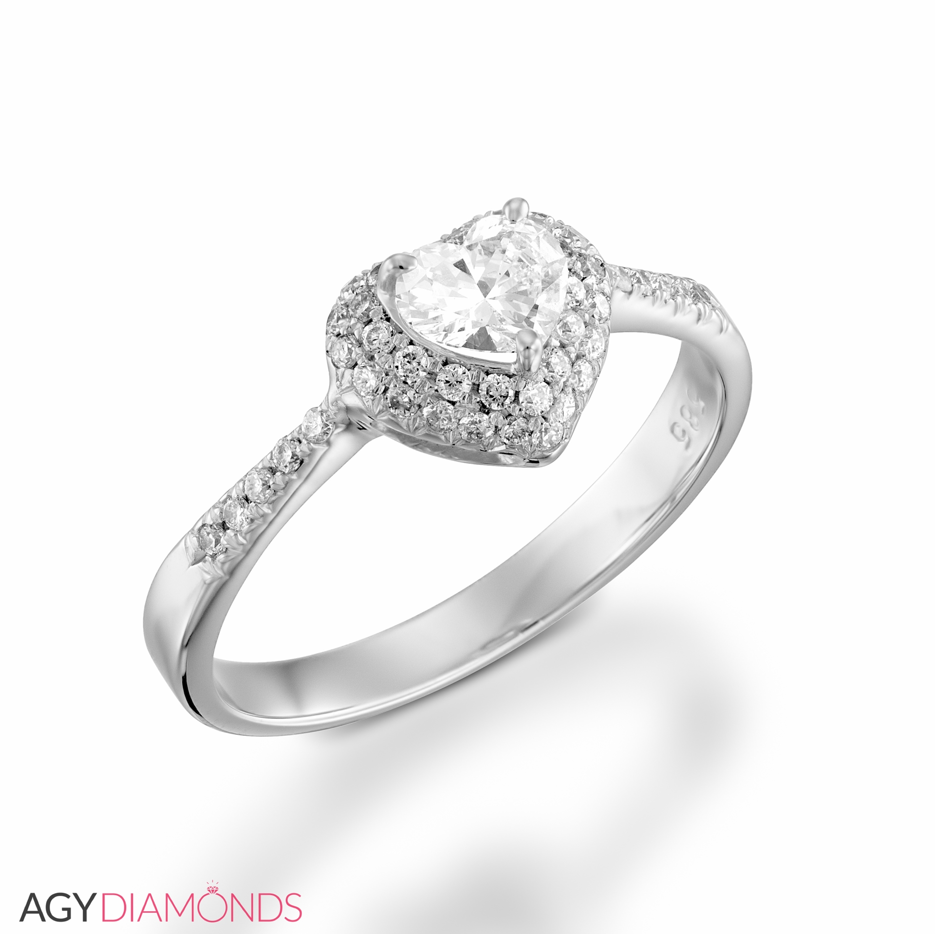 Picture Of 052 Total Carat Heart Engagement Heart Diamond Ring