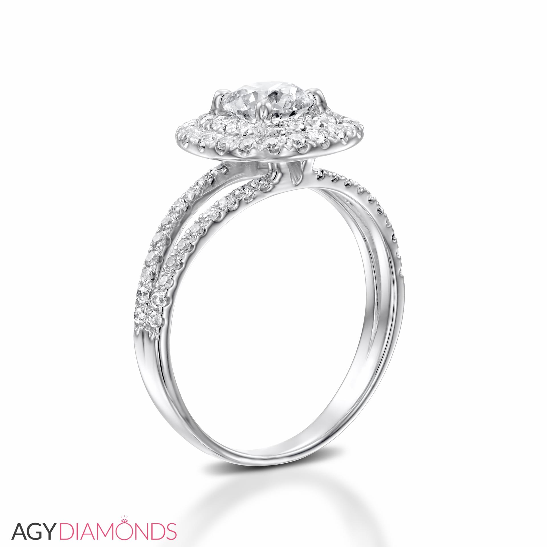 0.96 Total Carat Halo Engagement Round Diamond Ring | AGY ...