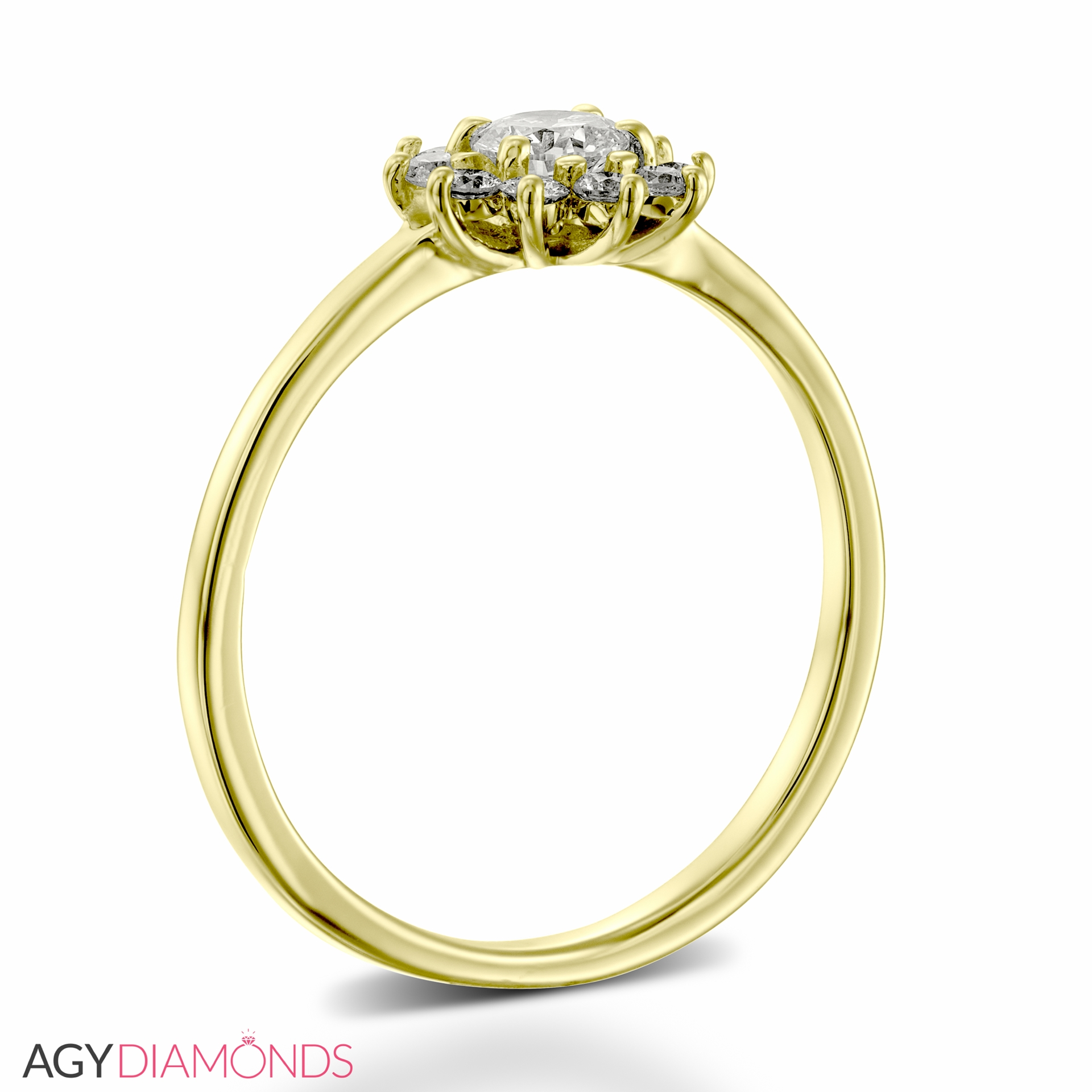 Picture Of 038 Total Carat Floral Engagement Round Diamond Ring