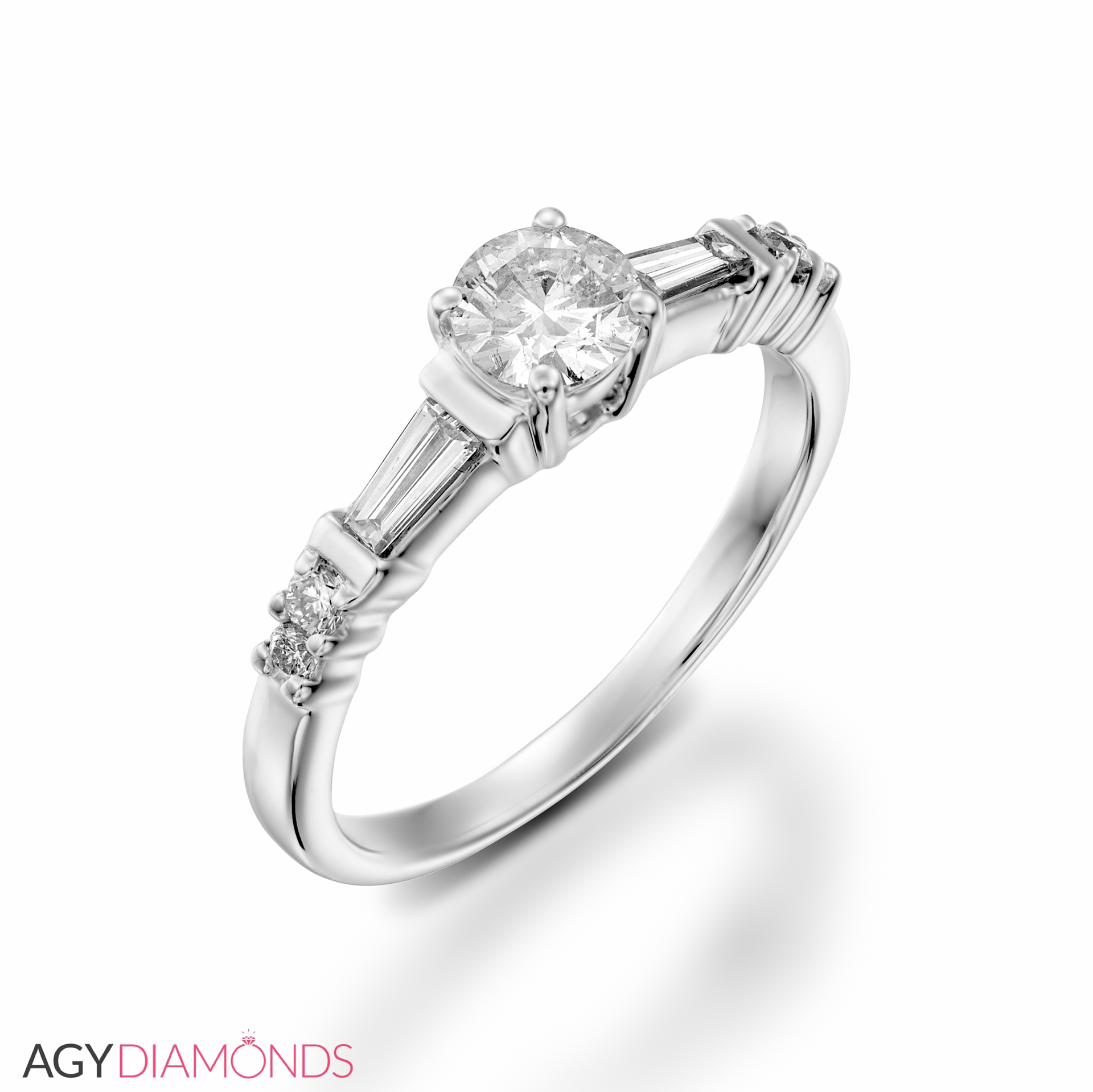 baguette engagement ring and oval diamond collection rings setting sylvie