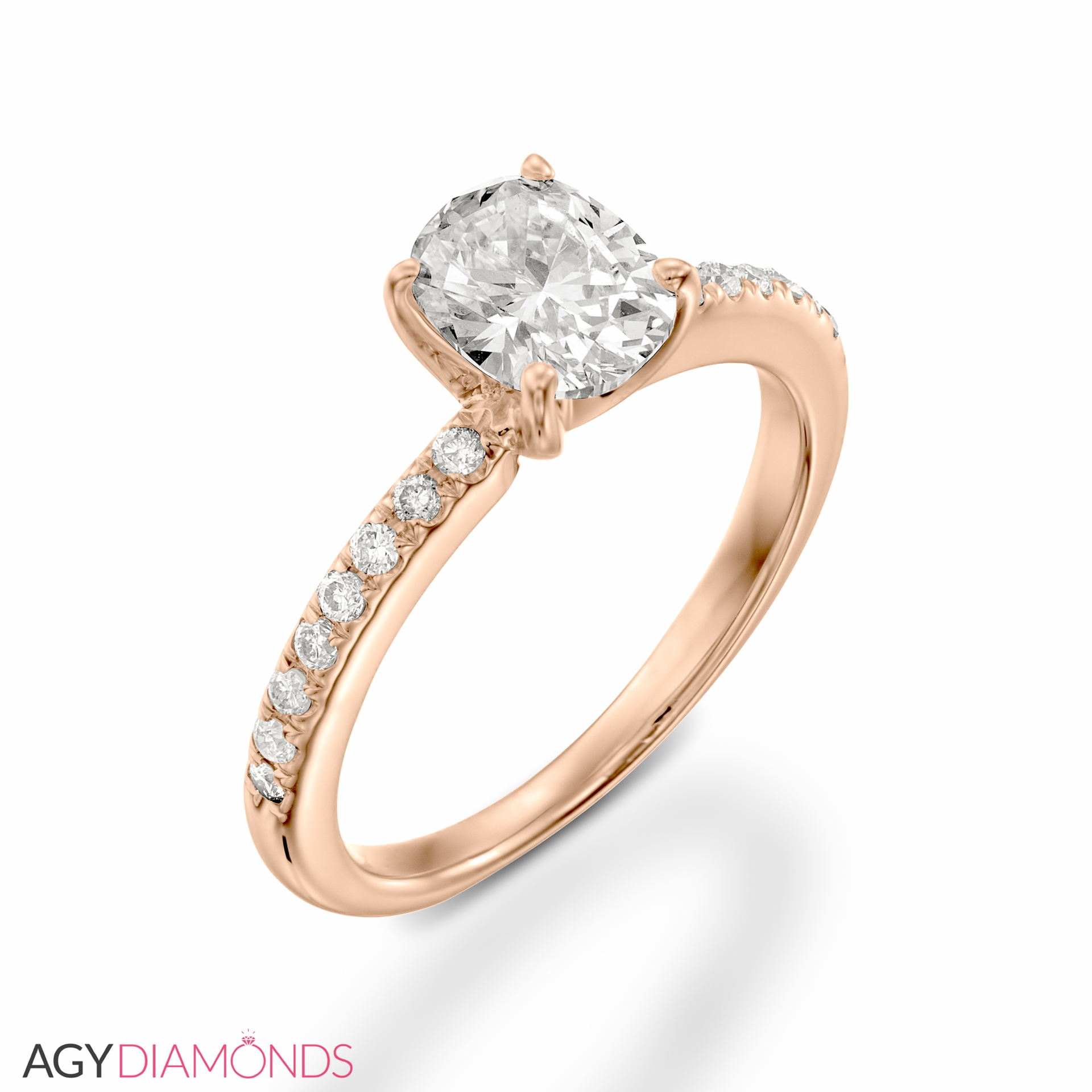pave rings rose item diamond jewellery center oval gold stg ring engagement halo ovl r