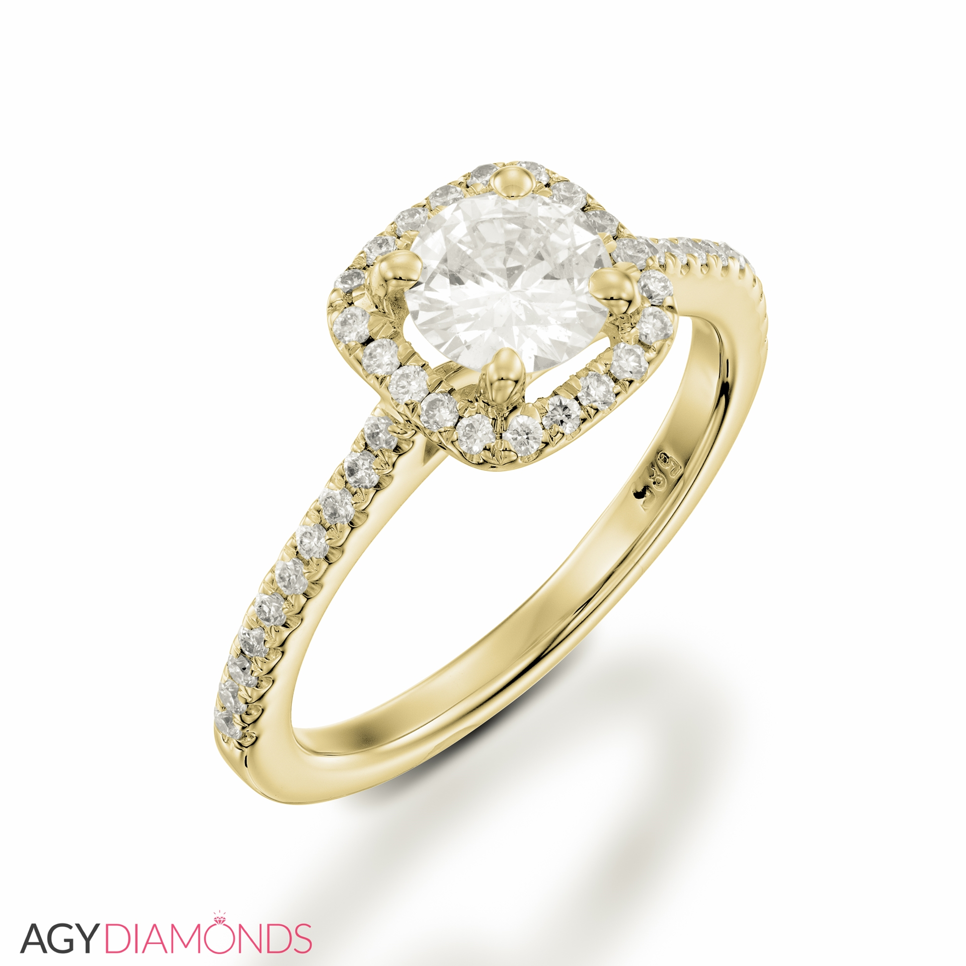 cushion round ring halo gold engagement white h diamond g