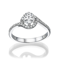 Picture of 0.47 Total Carat Halo Engagement Round Diamond Ring