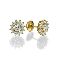 Picture of 1.18 Total Carat Stud Round Diamond Earrings