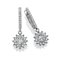 Picture of 2.66 Total Carat Drop Round Diamond Earrings