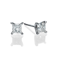 Picture of 1.40 Total Carat Stud Princess Diamond Earrings