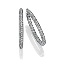 Picture of 2.38 Total Carat Hoop Round Diamond Earrings