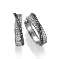Picture of 0.75 Total Carat Hoop Round Diamond Earrings