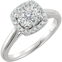 Picture of 0.50 Total Carat Halo Engagement Round Diamond Ring