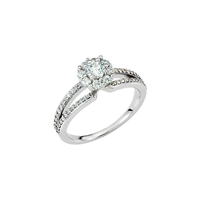 Picture of 0.75 Total Carat Halo Engagement Round Diamond Ring