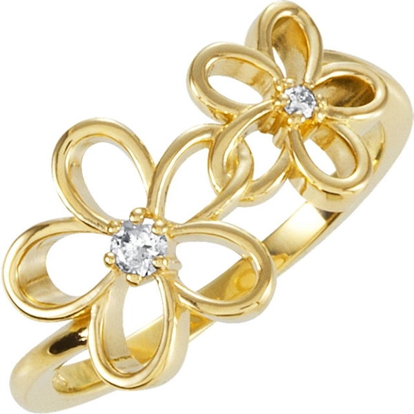 Picture of 0.07 Total Carat Floral Wedding Round Diamond Ring