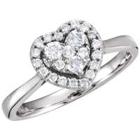 Picture of 0.38 Total Carat Heart Wedding Round Diamond Ring
