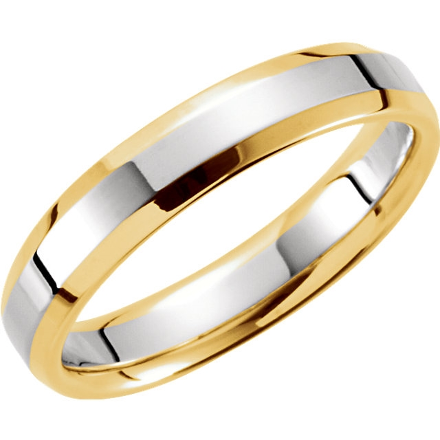Comfort Fit Band in White & Yellow Gold