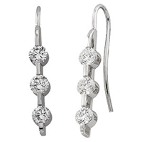 Picture of 1.37 Total Carat Three Stone Round Diamond Earrings