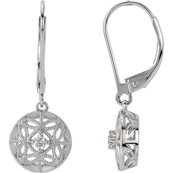 Picture of 0.09 Total Carat Drop Round Diamond Earrings