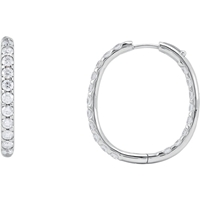 Picture of 3.00 Total Carat Hoop Round Diamond Earrings