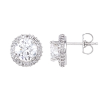 Picture of 2.50 Total Carat Halo Round Diamond Earrings