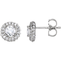 Picture of 0.88 Total Carat Halo Round Diamond Earrings