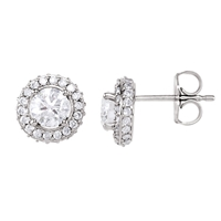 Picture of 1.20 Total Carat Halo Round Diamond Earrings