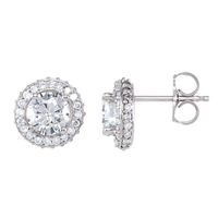 Picture of 1.50 Total Carat Halo Round Diamond Earrings