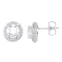 Picture of 2.00 Total Carat Halo Round Diamond Earrings