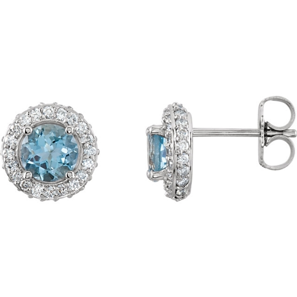 Picture of 0.38 Total Carat Halo Round Diamond Earrings