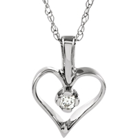 Picture of 0.03 Total Carat Heart Round Diamond Necklace