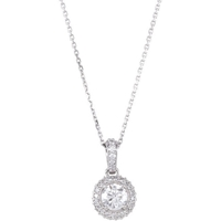 Picture of 0.75 Total Carat Halo Round Diamond Necklace