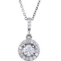 Picture of 1.00 Total Carat Halo Round Diamond Necklace