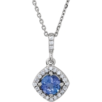 Picture of 0.13 Total Carat Halo Round Diamond Necklace