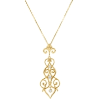 Picture of 0.17 Total Carat Floral Round Diamond Necklace