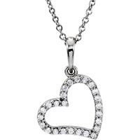 Picture of 0.13 Total Carat Heart Round Diamond Necklace