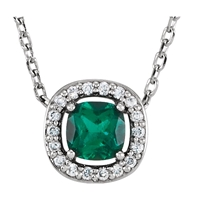 Picture of 0.04 Total Carat Halo Round Diamond Necklace