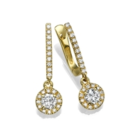 Picture of 2.08 Total Carat Drop Round Diamond Earrings