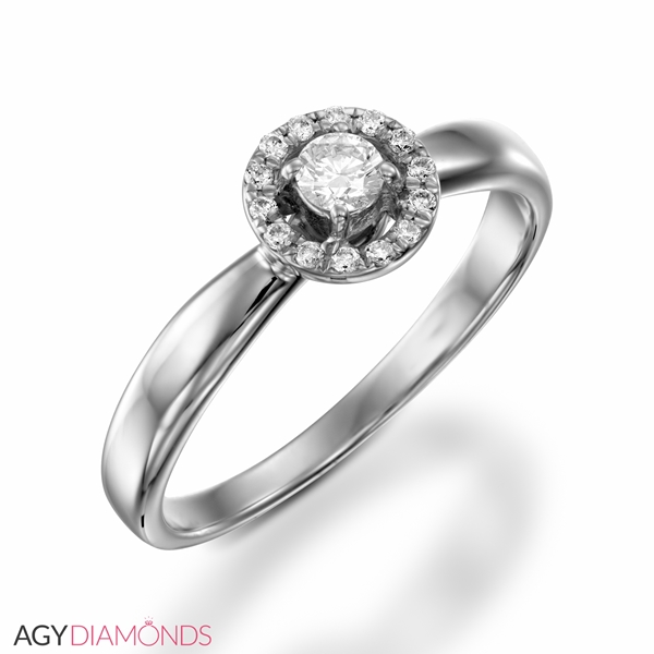 Picture of 0.17 Total Carat Halo Engagement Round Diamond Ring