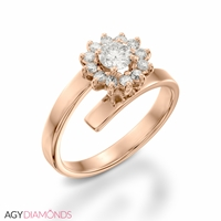 Picture of 0.74 Total Carat Floral Engagement Round Diamond Ring