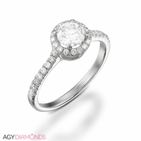 Picture of 0.53 Total Carat Halo Engagement Round Diamond Ring