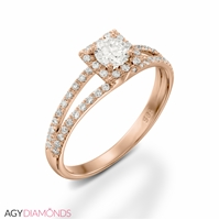 Picture of 0.58 Total Carat Halo Engagement Round Diamond Ring