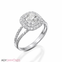 Picture of 0.96 Total Carat Halo Engagement Round Diamond Ring